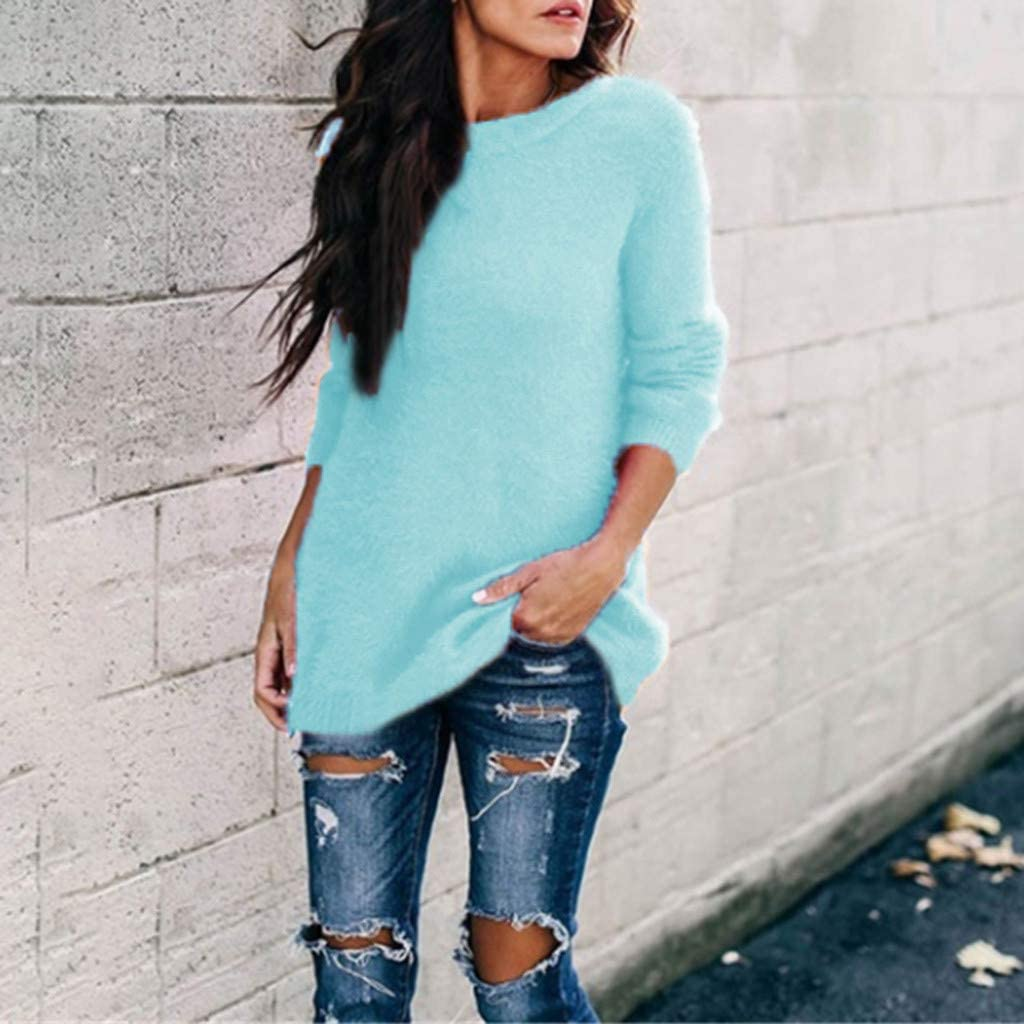 iHENGH Women Ladies Arctic Velvet Solid Color Round Neck Long Sleeve Sweater Blouse