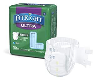 """FitRight Ultra Adult Diapers, Disposable Incontinence Briefs with Tabs, Heavy Absorbency, Large, 48""""-58"""" (Pack of 20)"""