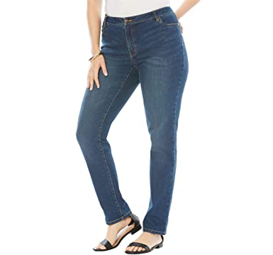 d4d289f337c Roamans Women s Plus Size Straight Leg Jean with Invisible Stretch -  Stonewash Sanded