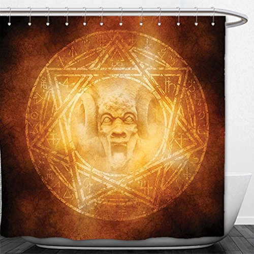 Interestlee Shower Curtain Horror House Decor Demon Trap Symbol Logo Ceremony Creepy Ritual Fantasy Paranormal Design Orange by Interestlee