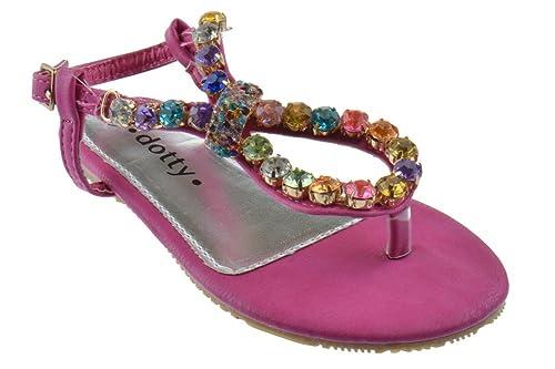 06184866f5da Smarty Rhinestone Multi Color Embellished Thong Sandal Fushia 11