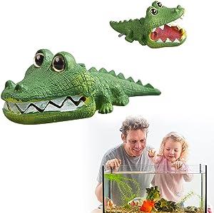 ZUKIBO Aquarium Crocodile Air Bubbler Decorations - Aerating Action Ornament, Oxygen Bubble Resin Crafts for Aquarium Fish Tank Decor