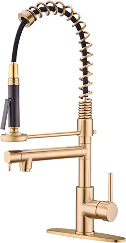 Spring Kitchen Faucet with Pull Down Sprayer Commercial 360 Degree Swivel High Arc Pre-rinse Brass Kitchen Faucet with Deck Plate Brushed Gold
