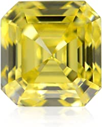 0.26Cts Fancy Intense Yellow Loose Diamond Natural Color Asscher Shape GIA Cert