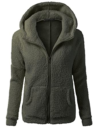 505cf21ed Womens Hooded Full Zip Up Sherpa Fleece Hoodie Jacket Coat at Amazon ...
