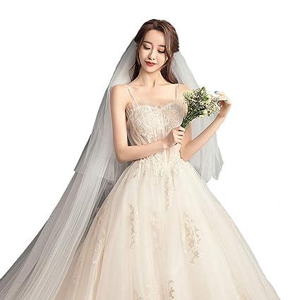 Vestido de novia Larga Cola de la Correa Princesa sueño Invierno Vestido de Noche Ailin Home
