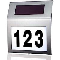 MOLVCE RVS huisnummer solar Verlicht 2 leds solar huisnummer met schemerschakelaar IP65 waterdicht buiten met cijfers 0…