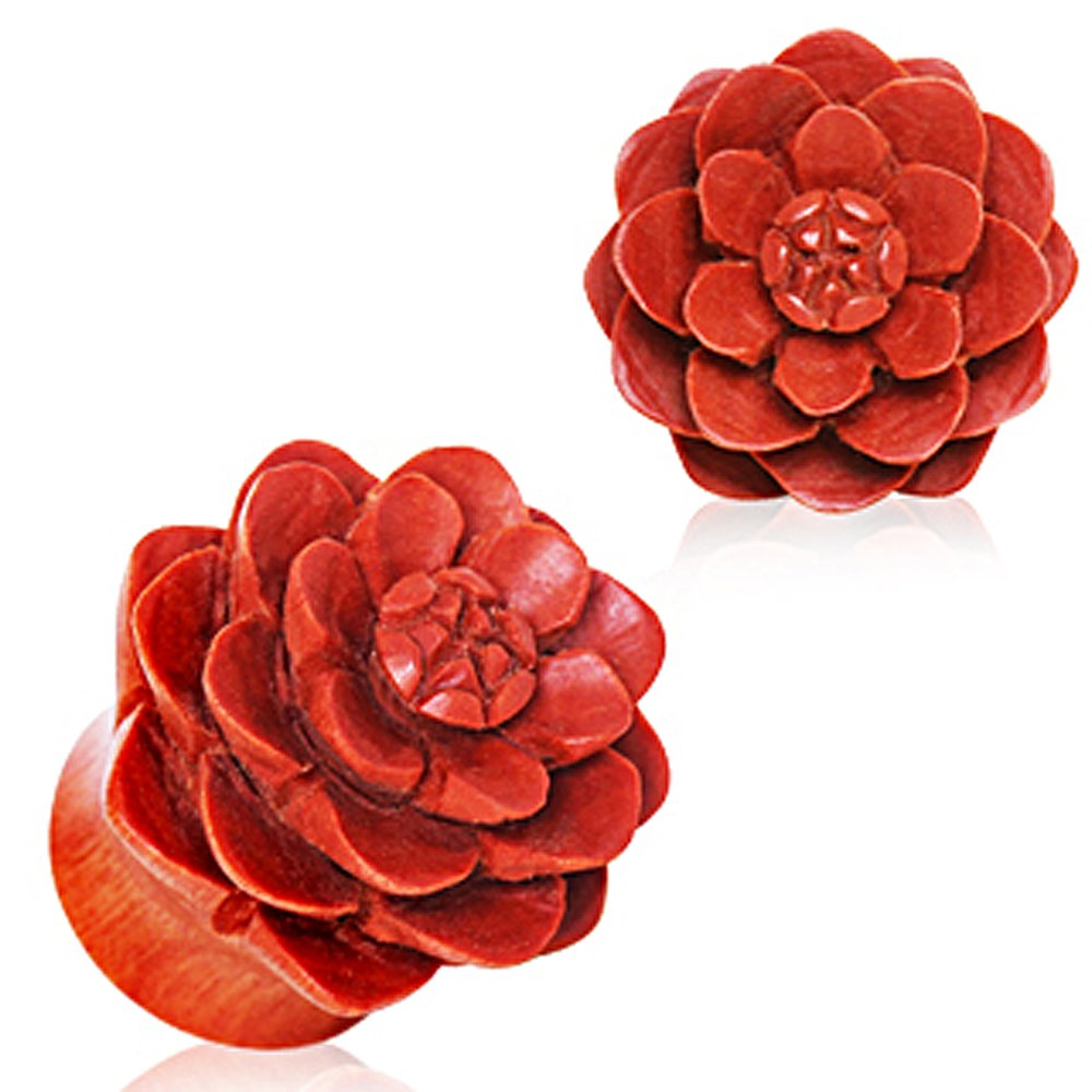 Organic Sawo Wood Lotus Blossom Saddle Plug Sold as a Pair