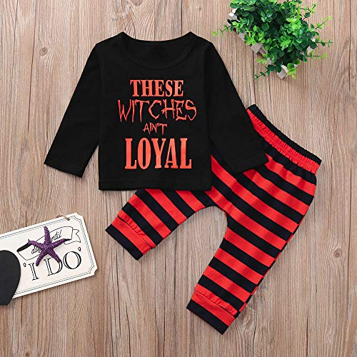 Neonato 2pcs Bambina Halloween Top Bambini Costume Pullover Felpa Stampa Manica messi BYSTE lunga Camicie lunghi Pantaloni Halloween Blcak del fumetto Halloween vHqpnxw