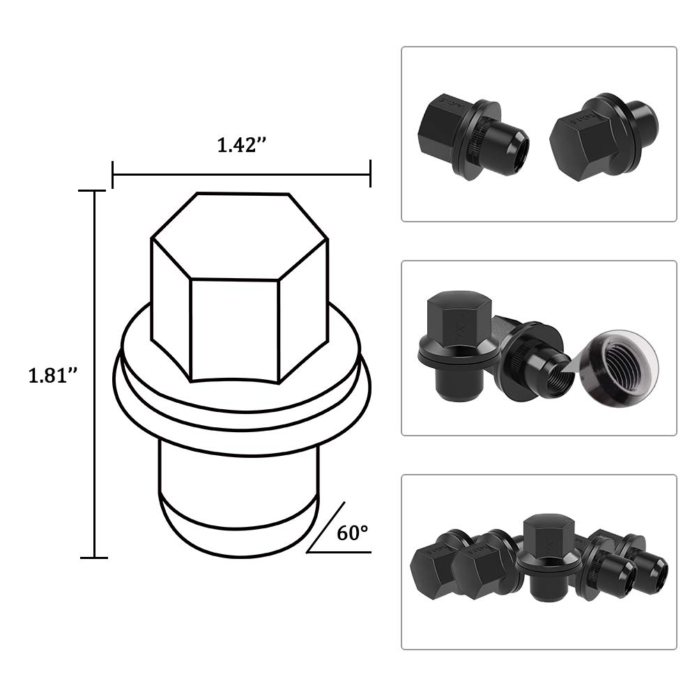 Closed End Wheel Lug Nuts Mag Seat 1.81 Tall 0.87 Hex with Washer YITAMOTOR Lug Nuts 14x1.5 Black 20Pcs