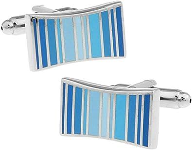 Aeici Gemelos para Hombre Gemelos para Camisa Rayas Rectangular Gemelo Camisa Hombre Azul: Amazon.es: Joyería
