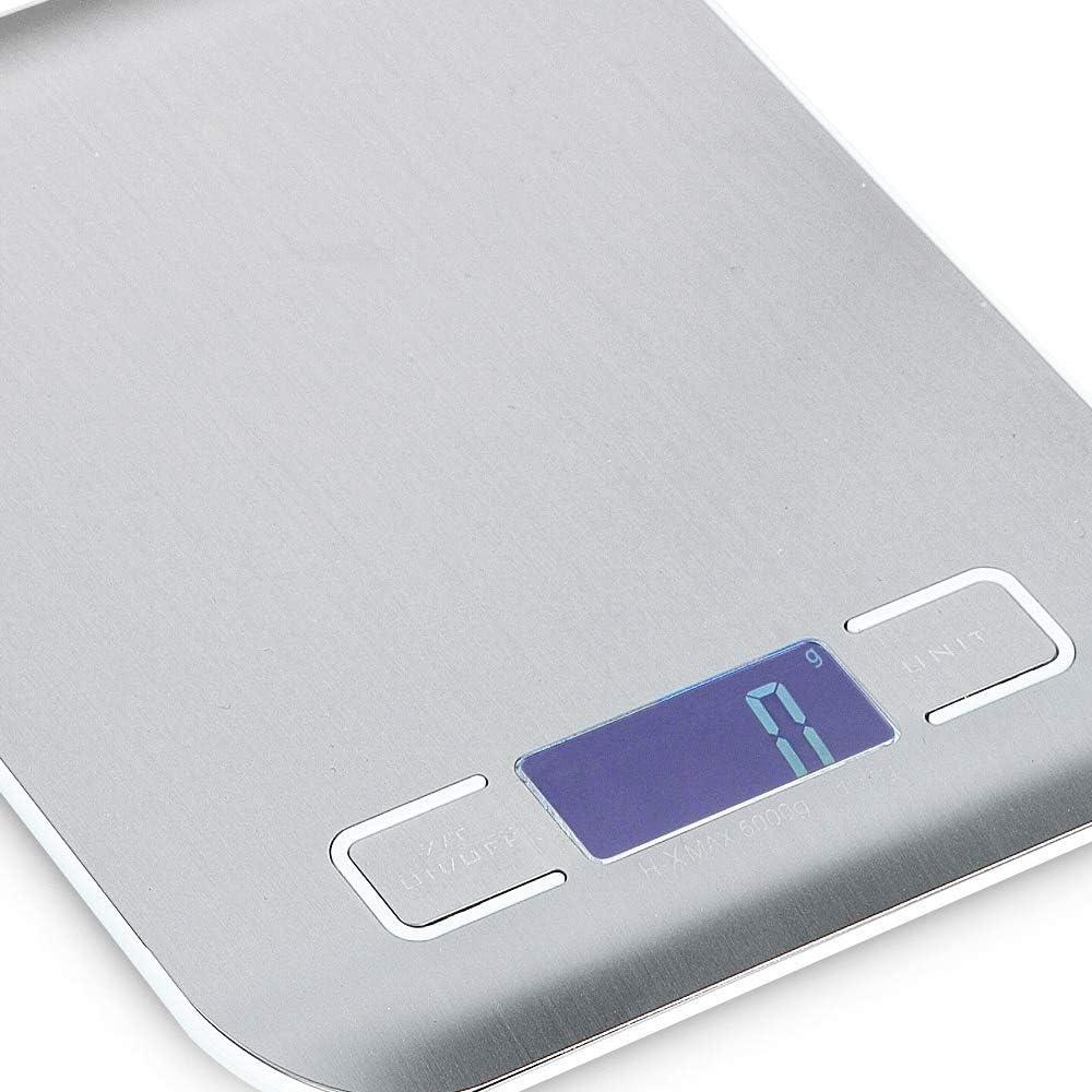 FEE-ZC Bilancia da Cucina Digitale Multifunzione per Cucina/Cucina per Cucina Elettronica di precisione in Acciaio Inossidabile e Cottura per Bilancia Postale, Argento White