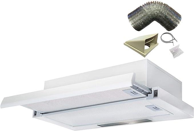 Sia tsc60wh blanco 60 cm telescópica Campana Extractor ventilador con 3 m juego de conductos: Amazon.es: Grandes electrodomésticos