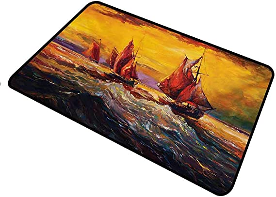 shirlyhome Funny Doormat Country for Dogs Feet Image of Old Sailboats Ships Cruising in Waves at Sunrise Time Dark Sky Art Rectangle 24 x 35 inch Yellow Orange