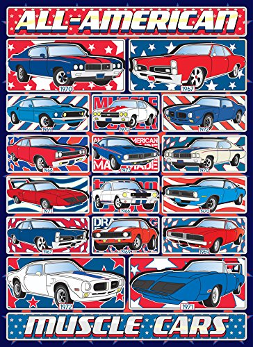 Muscle Cars Jigsaw Puzzle - 1000 Piece - Limited Edition (see Collectors Note) - Classic, All-American Car Puzzle Set with Patriotic Design - Made in USA by Hennessy Puzzles