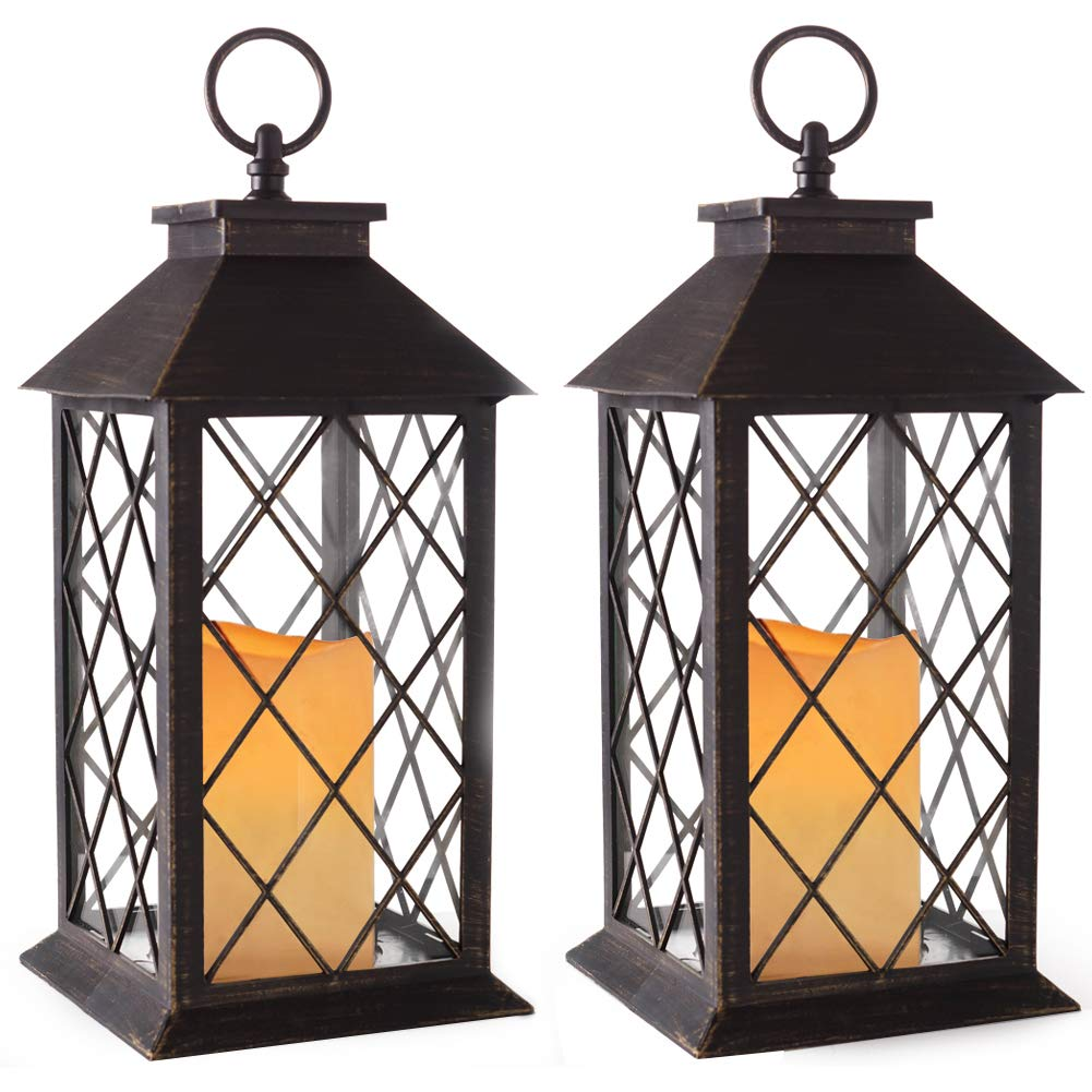 Bright Zeal 14'' Tall Vintage Candle Lantern with LED Flickering Flameless Candles and Timer (Distressed Bronze) - Indoor Outdoor Hanging Lights - LED Candle Lanterns Decorative - Candles & Holders