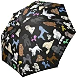 Artsadd Fashion Umbrella Poodle Umbrella Black Foldable Sun Rain Travel Umbrella