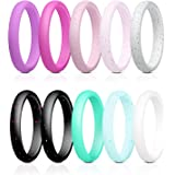 Elimoons 10 Pack Silicone Wedding Ring for Women, Premium Medical Grade Wedding Bands Thin and Stackable Durable Comfortable Rubber Rings, Black White Pink Silver