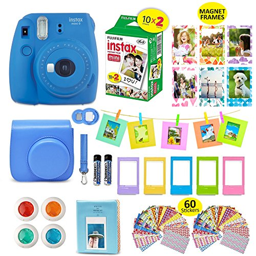 Fujifilm Instax Mini 9 Camera COBALT BLUE Camera + 20 Instant Fuji-Film Shots, Instax Case + 14 PC Instax Accessories Bundle, Fuji Mini 9 Kit Gift, Albums, Lenses, 60 Stickers - Lens Color Price