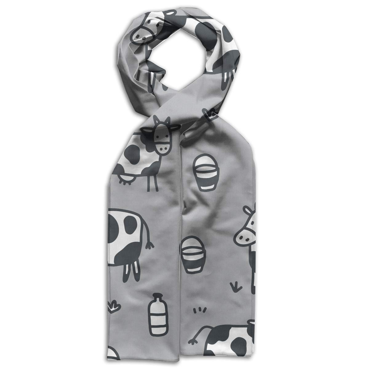 Cartoon Cow Pattern Kids Printed Scarf Cute Winter Infinity Scarf Warmer Travel Scarf For Kids Perfect Birthday Gift