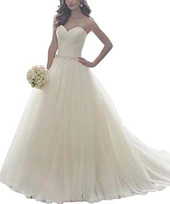 ed9f6f6710e Wedding Dress Simple Tulle Sweetheart Strapless Wedding Dresses for Bride A- Line Ivory