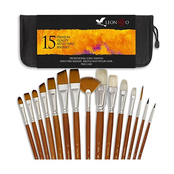 Paint brushes set - Acrylic Oil Watercolor Gouache painting Brushes -  Badger hog bristle synthetic brushes - Artist Canvas Art Paint Brush Kit  with a