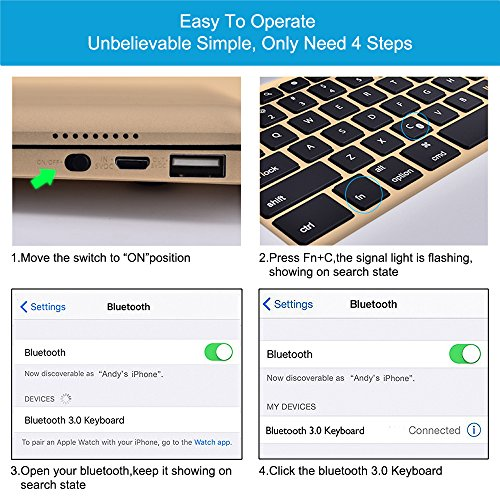 MOSTOP iPad Pro 12.9-inch Keyboard Bluetooth 7-color LED Backlit Slim Aluminum Wireless Keypad with Built-in 5600mAh Power Bank for iPad Pro 12.9'' (Gold) by MOSTOP (Image #5)'