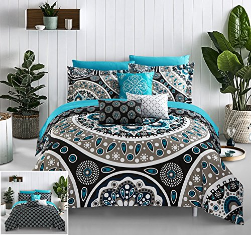 Chic Home 10 Piece Mornington Large Scale Contempo Bohemian Reversible Printed with Embroidered Details. King Bed in a Bag Comforter Set Black
