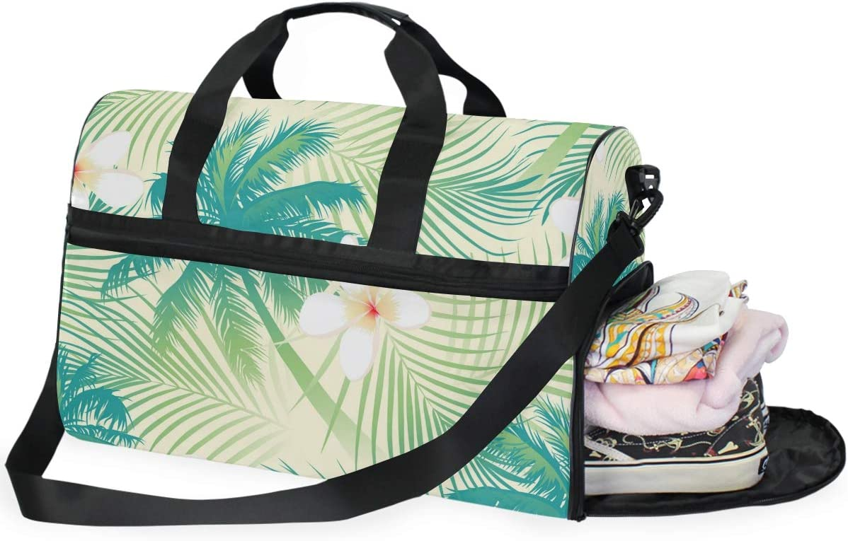 AHOMY Tropical Palm Tree Leaf Sports Gym Bag with Shoes Compartment Travel Duffel Bag