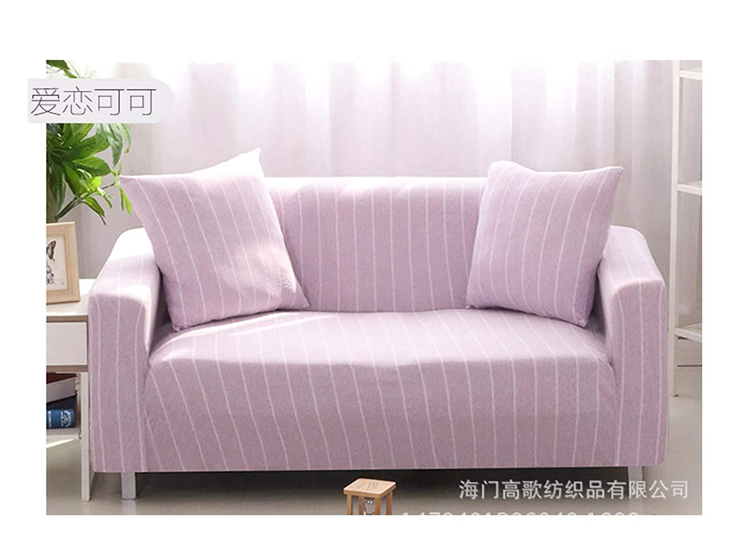 4seat VGUYFUYH Purple And White Stripes Skid Proof Sofa Cover Cotton Full Package Elasticity Household Versatile Four Seasons Sofa Cover Simple Fashion One Set Durable Dust Proof Pet Dog Predective Cov
