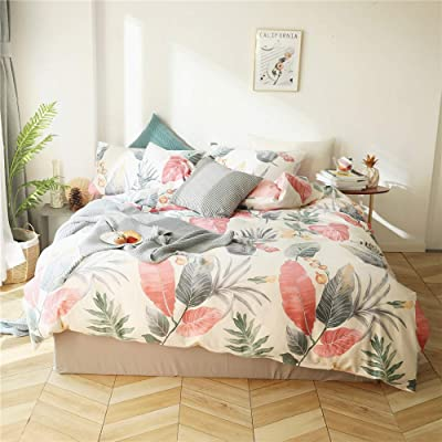 AMWAN Queen Bedding Leaves Flower Duvet Cover Set Cotton Floral Comforter Cover Set Kids Girls Women Bedding Cover Cotton 3 Piece Quilt Duvet Cover Set Full Cotton Home Bedding Set: Home & Kitchen