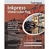 "Inkpress Watercolor Texture Matte Archival Cotton Rag Inkjet Paper, 15 mil, 200 gsm, 13x19"", 25 Sheets"