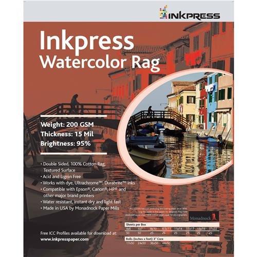 Inkpress Watercolor Rag Paper - Inkpress Watercolor Texture Matte Archival Cotton Rag Inkjet Paper, 15 mil, 200 gsm, 13x19