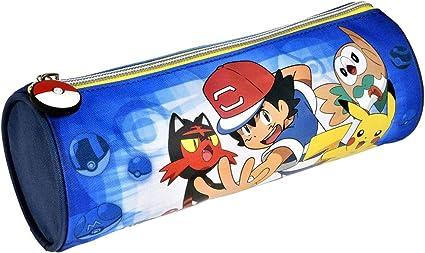 Alpa – 1 estuche redondo Pokemon azul – 22 x 8 cm: Amazon.es: Oficina y papelería