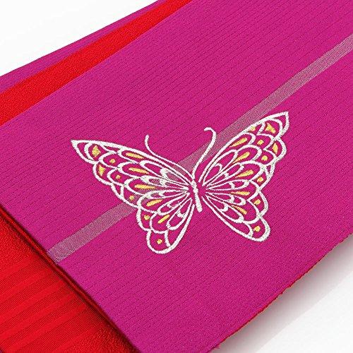 タヒチ原子団結レディース 小袋帯 浴衣用 (長尺) 日本製 刺繍 蝶柄 赤紫系
