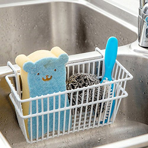 TuuTyss Large Capacity Metal Hanging Kitchen Sink Caddy Organizer Sponge Holder Rack-White