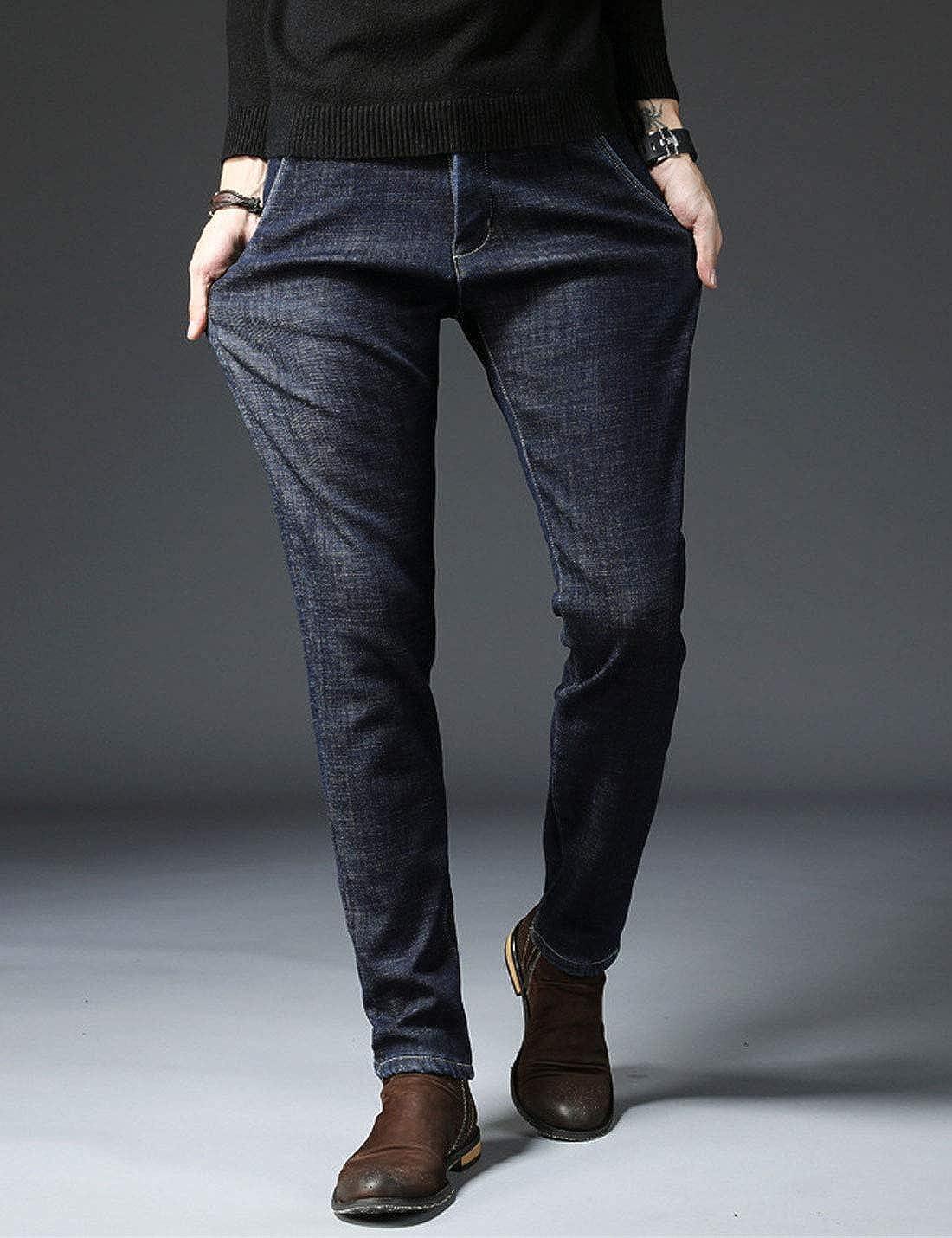 Omoone Mens Strech Slim Fit Fleece Lined Distressed Jeans Pants