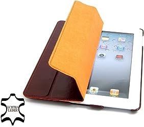 StilGut Couverture, custodia in vera pelle per il Apple iPad 2 con funzione di supporto e smart cover, rosso vinaccia, pelle liscia