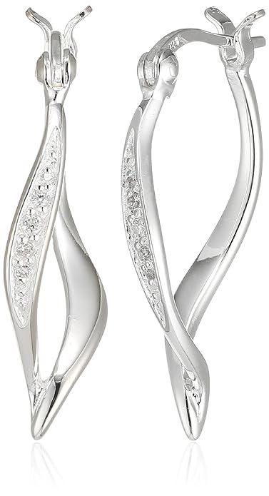 Elements Silver Women Cubic Zirconia Hoop Earrings E5534C Sh0WiINag