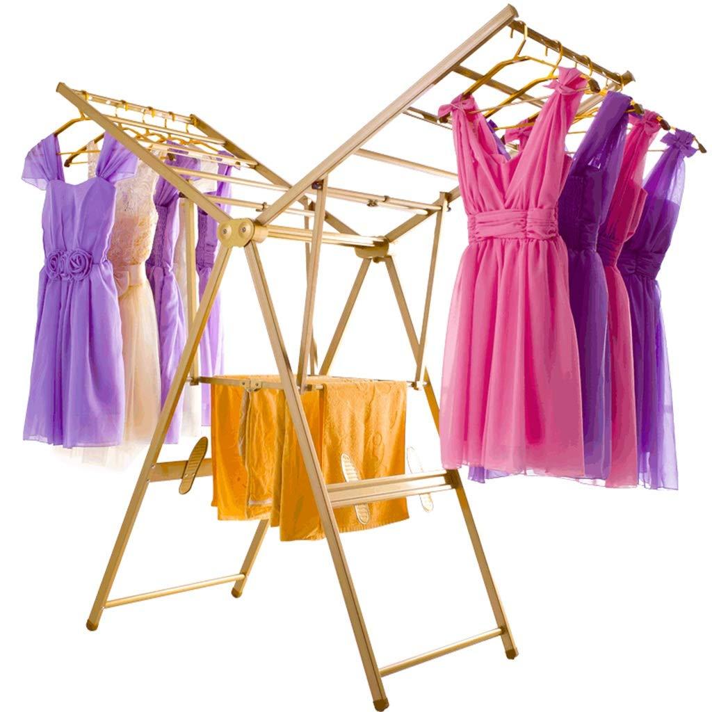衣類ハンガー アイレール服乾燥ラック室内調節可能折りたたみ可能なアルミニウム B07HR73D5S