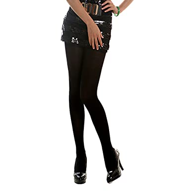 9adb9cc650eb4 HDE Women's 6-Pack of Opaque Solid Color Microfiber Footed Tights (Black)