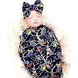 Galabloomer Newborn Receiving Blanket Headband Set Owl Print Baby Swaddle Girl Blankets