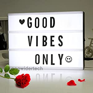 Light up Box Sign with Letters - A4 Size DIY Decorative Cinema Symbol, Fun Message Board for Girl Birthday Back to School Dorm Room Decoration, Fathers Day Graduation Memorial 4th of July Decor Gift