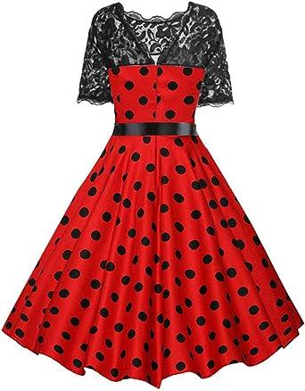 FRAUIT damska elegancka sukienka w stylu lat 50., koronkowa, w kropki, styl retro, plisowana, z wysokim stanem w talii: Odzież