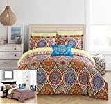 Chic Home 8 Piece Chennai Reversible Boho-inspired print and contemporary striped patterned technique King Bed In a Bag Comforter Set Red