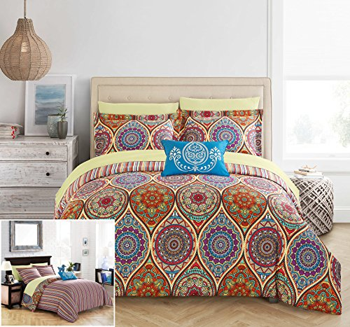 Chic Home 8 Piece Chennai Reversible Boho-inspired print and contemporary striped patterned technique Queen Bed In a Bag Comforter Set Red