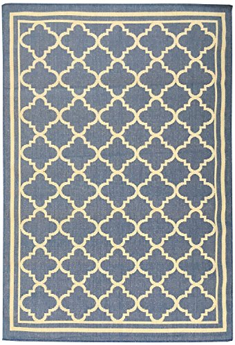 Berrnour Home Summer Collection Natural Blue Moroccan Trellis Design Indoor / Outdoor Jute Backing Area Rug (5'3