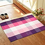 Wolala Home Bohemian Plaid Stripes Cotton Washable Rug Durable Livingroom Solid Floor Rug Simple Fashion Doormat Floor Mat Kitchen Area Rug (2'0x6'0) Review