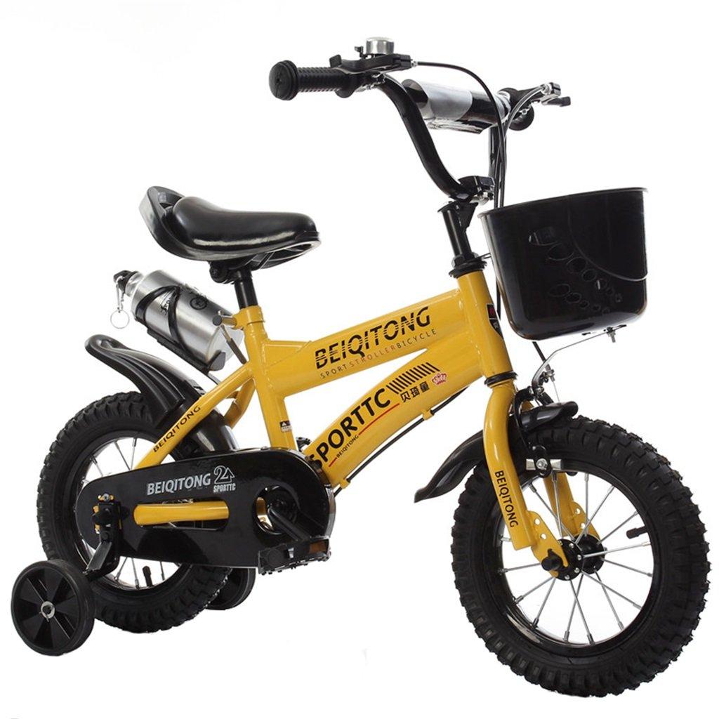 KANGR-子ども用自転車 子供用自転車適切な2-3-6-8男の子と女の子子供用玩具屋外用マウンテンバイクハンドルバーとサドルはトレーニングホイールで調節可能な高さにできますウォーターボトルとホルダー-12 / 14/16/18インチ ( 色 : イエロー いえろ゜ , サイズ さいず : 18 inches ) B07BTWBFRK 18 inches|イエロー いえろ゜ イエロー いえろ゜ 18 inches