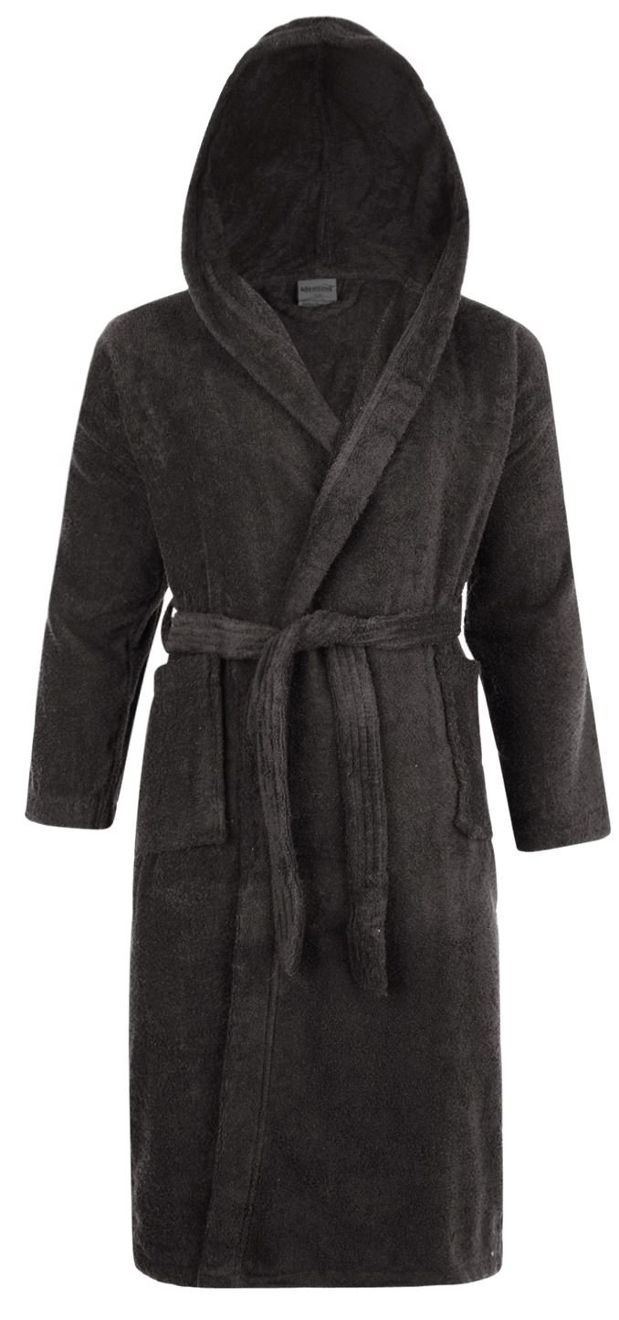 Adore Home Mens & Ladies Hooded 100% Cotton Terry Towelling Shawl Collar Bathrobe Dressing Gown - Slate